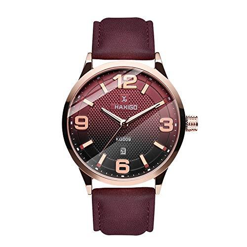 Montres Hommes Mode Casual Simple Business Sports Watch Montre À Quartz Calendrier Calendrier Bracelet en Cuir Imperméable, Bordeaux Rouge