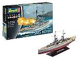 Revell RV05157, Kriegschiff aus dem 1. Weltkrieg, 25,2cm 12 Modellbausatz WWI Battleship SMS KÖNIG im Maßstab 1:700, Level 4, Multicolour -