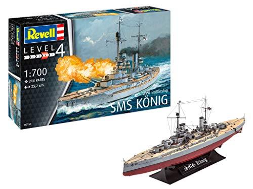 Revell RV05157, Kriegschiff aus dem 1. Weltkrieg, 25,2cm 12 Modellbausatz WWI Battleship SMS KÖNIG im Maßstab 1:700, Level 4, Multicolour
