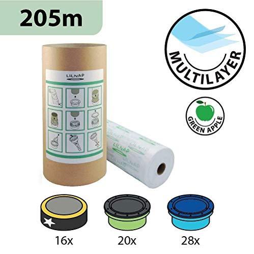 Ricarica Mangiapannolini Multistrato leggermente Profumata con Trattamento Antiodore EVOH compatibile ricariche Sangenic Tommee Tippee TEC e Twist & Click | Angelcare | Litter Locker II (205m + tubo)
