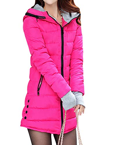 BOZEVON Giubbino da Donna Invernale - Parka Cappotto Lungo Elegante Piumino Giacca Imbottito con Cappuccio Taglie Forti, Rose Rosso/EU S = Tag L