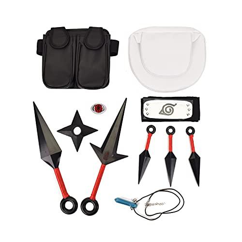 I3C Accesorios de Cosplay de Naruto Anime, Uzumaki Kakashi, collar de diadema de metal plateado, bolso de cintura, bolsa de pierna, accesorio de disfraz de Ninja