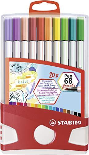 Pennarello Premium con punta a pennello per linee spesse e sottili - STABILO Pen 68 brush Colorparade - Astuccio Desk-Set da 20 - con 19 colori assortiti