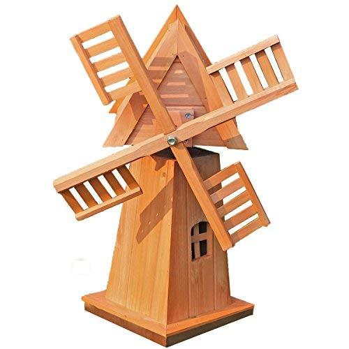 Spetebo Deko Holz Windmühle - 60x42x35 cm - Garten Deko Holzwindmühle Gartenwindmühle
