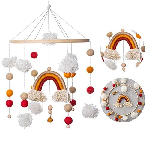 Promise Babe Baby Windspiele mit Filzbällen Mobile Hölzerne Bettglocke Anhänger zum Aufhängen über dem Kinderbett Mobile Krippe für Babybett (Regenbogen)