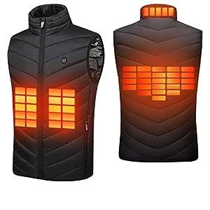 Suxman Chaleco calefactable USB, Chaleco calefactable para Hombres y MujeresTemperatura térmica Ajustable, Carga USB, calefacción de Espalda y Cuello, Chaqueta Lavable,con guantes invierno (L)