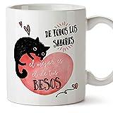 MUGFFINS Taza San Valentín (Te quiero) - De todos los sabores - Regalos Originales y Divertidos de Aniversario para Novios, Enamorados, Pareja.