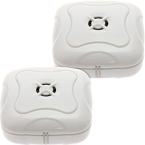 2 Pack Water Leak Detector - 95 dB Flood Detection Alarm Sensor for Bathrooms, Basements, Laundry Rooms, Garages, Attics and Kitchens by Mindful Design (White, 2 Pack)