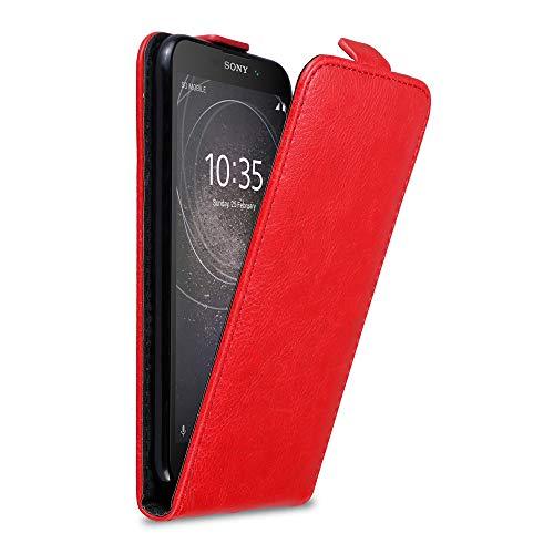 Cadorabo Hülle für Sony Xperia L2 in Apfel ROT - Handyhülle im Flip Design mit Magnetverschluss - Hülle Cover Schutzhülle Etui Tasche Book Klapp Style