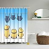 QQSGBD Tela de poliéster Impermeable de Dibujos Animados 3D Baño Plato de Ducha Amarillo Minions apagón Baño Cortinas Largo 180x200cm (Color : A, Size : 180x180cm)
