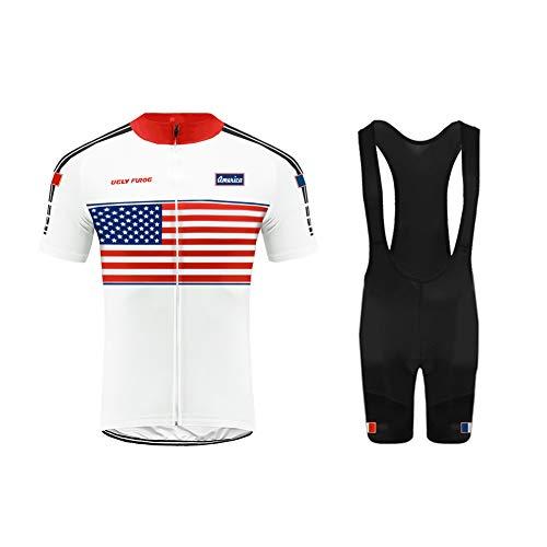 Uglyforg Bike Wear Radtrikot Herren Kurzarm Fahrradbekleidung Set Outdoor Sports Radfahren Jersey + Radfahren Latzhose Shorts im Sommer