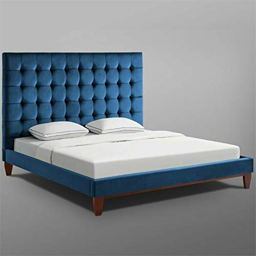 Buy Posh Living Tufted - Upholstered - Bed Frame Blake Blue Velvet - Queen Size, Weight Capacity : 6...