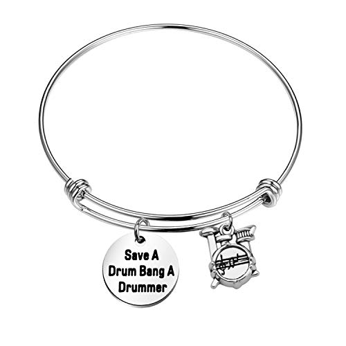 ENSIANTH Funny Drummer Gift Save A Drum Bang A Drummer Keychain Drum Kit Gifts Musician Keychain Percussion Jewelry (Drum Bracelet)