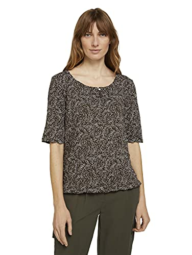 TOM TAILOR Damen 1025782 Crincle T-Shirt, 27411-Khaki White Outline, 3XL