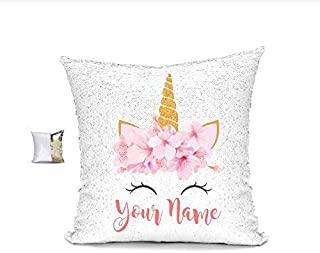 YUUNITY Personalized Unicorn Reversible Sequin Pillow, Custom Unicorn Sequin Pillow Gifts for Girls(White/Gold)