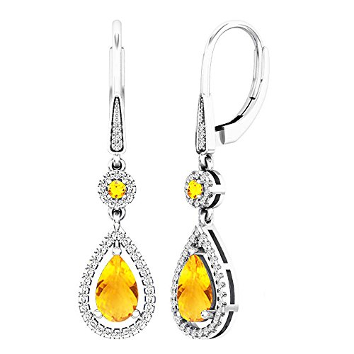 Dazzlingrock Collection 14K 8X5 MM Each Round & Pear Citrine & Round Diamond Ladies Teardrop Dangling Earrings, White Gold