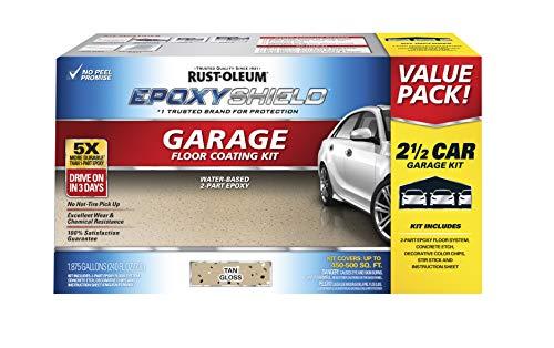 Rust-Oleum 261846 EPOXYSHIELD Garage Floor Coating, 2.5 Car Kit, Tan