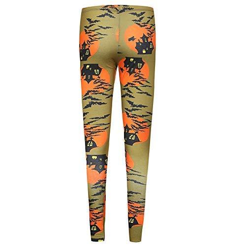 Lowest Prices! Women Halloween JackoLantern Pants Ankle Length Leggings Orange Elasticity 3D Digital...