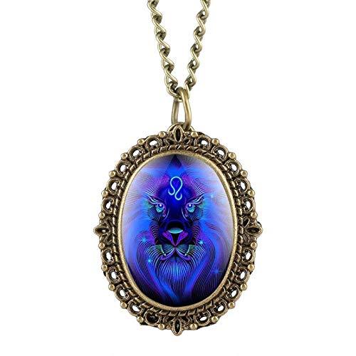 DFBGL Reloj de Bolsillo 12 Constelación Astrología Reloj de Bolsillo Ovalado Único Azul Fluorescente Collar del Zodiaco Colgante de Cuarzo Regalo de cumpleaños para un Amigo