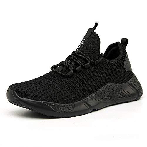 tqgold® Herren Sportschuhe Laufschuhe Sneaker Atmungsaktiv Leichte Wanderschuhe Trainers Schuhe 08Schwarz 42
