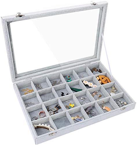 Pimuza 24 Grid Jewelry Tray Box Organizer Storage Holder for RingWatchStud EarringTrinketGlass Clear Lid Velvet Plain Dividers Case for Coffee Table DecorativeLittle Girls BedroomHome DecorGrey
