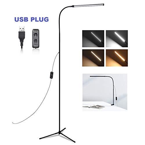 Luz de Lectura Moderna LED, lámpara de escritorio LED 3 en 1 y lámpara de pie artesanal de escritorio, lámpara de abrazadera para sala de costura de la habitación, dormitorio, brillo, 4 atenuadores