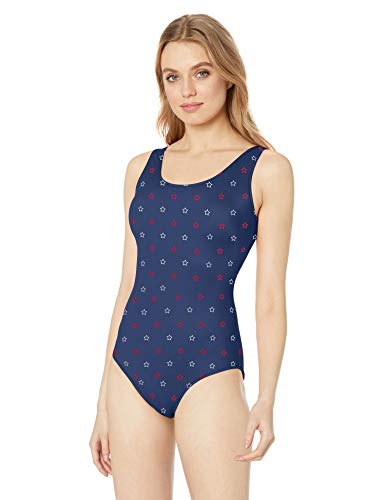 Amazon Essentials Women's One Piece Coverage Swimsuit, Blue Stars, S