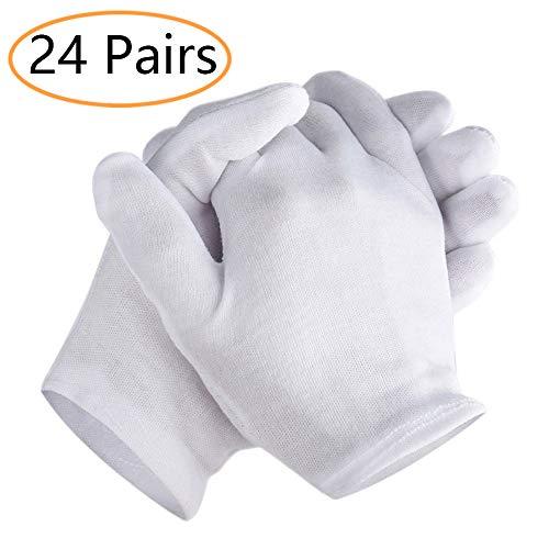 ANDERK 24 Pairs Pure Katoen Witte Handschoenen Inspectie Sieraden Gezondheid Dagelijkse Werk Handschoenen Grote Voor Mannen Vrouwen