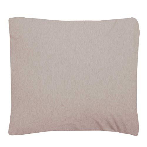 Sleepdown Jersey melange beige örngott par paket varm mysig enkel vård vanligt garn färgat kuddöverdrag säng linne 80 cm x 80 cm, polycotton