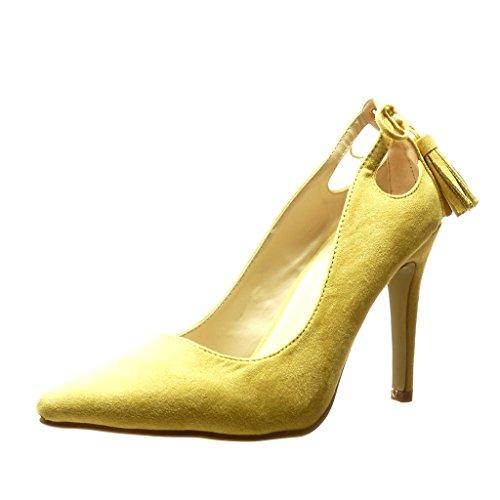 Angkorly - Damen Schuhe Pumpe - Stiletto - Sexy - Bommel - Fransen Stiletto high Heel 10 cm - Gelb C61-03 T 38