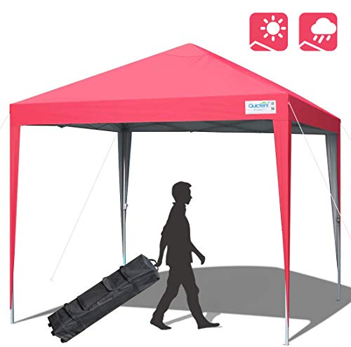 Quictent 10x10 Pop up Canopy Tent Commercial Instant Gazebo Party Tent Waterproof with Wheeled Carry Bag (Pink)