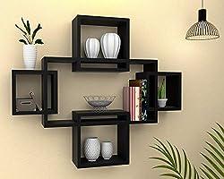 Vudy Engineered Wood Wall Shelves ,Glossy Finish ,Set Of 5,Black
