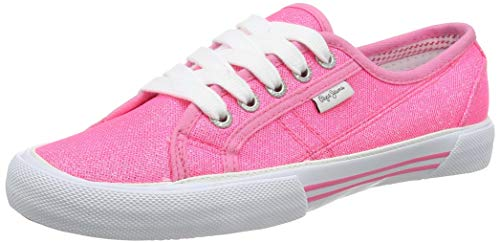 Pepe Jeans London Damen ABERLADY Crystal Sneaker, Pink (Neon Pink 335), 38 EU