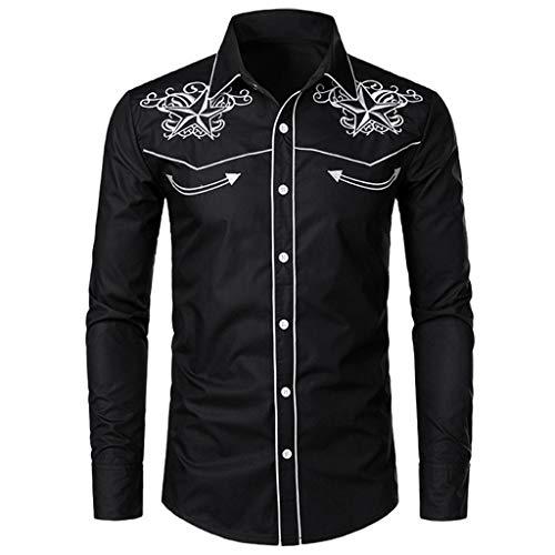 Chemises FNKDOR pour des Hommes Automne Hiver Décontractée Chemise Broderie Arrêtez-Vous Manches Longues T-Shirt Top Blouse(Noir,2XL)