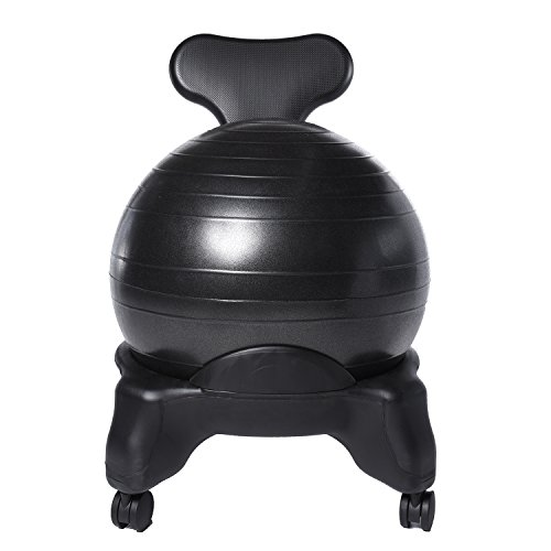 Ivation Balance Exercise Ball Chair Office-Size 60mm/2.5' Wheels Starter Pump & Bonus Latex Resistance Band Included