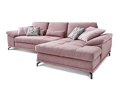 Cavadore Ecksofa Castiel mit Federkern, großes Sofa in L-Form mit Sitztiefenverstellung und XL-Longchair, 312 x 89 x 173, Webstoff, Flieder-rosa