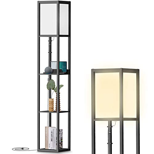 Floor Lamp with Shelves, Modern Tall Lamps with Charging Station-2 USB Ports & 1 Power Outlet - Lamps for Living Room, Bedrooms& Office-Black