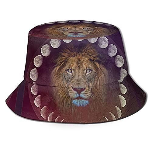 AOOEDM El león en el Espejo de la Luna Sombrero de Pescador al Aire Libre Sombrero de Playa Plegable para el Sol Sombrero de Verano UVTravel Adecuado para Mujeres y Hombres Adultos Negro