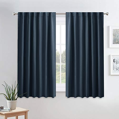 PONY DANCE Blackout Window Curtains - Double Panels Back Tab & Rod Pocket Thermal Insulated Short Drapes for Kitchen Bedroom, 52 Wide x 45 Long Per Panel, Navy Blue, 2 Pieces