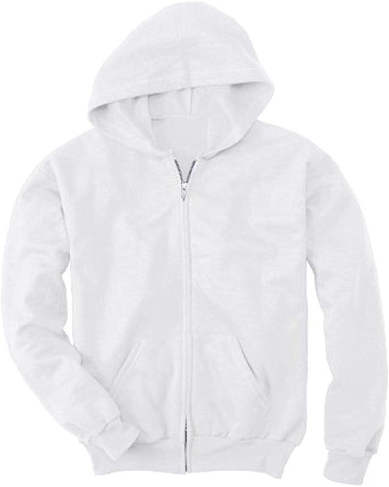 Hanes Youth Comfortblend EcoSmart Full-Zip Hood 7.8 Oz Sweatshirt, Navy, L