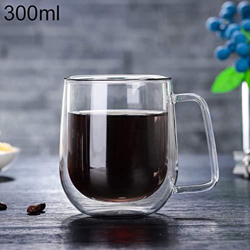 happyhouse009 Glas-Kaffeetasse, professionelle Kristall-Kaffeetasse, Glas, Teetassen, 300 ml, doppelwandig, hitzebeständig, Glasbecher, Milchsaft, Isolierbecher, Glas, durchsichtig, 300ml