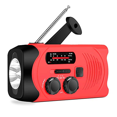 Emergency Solar Radio, AM/FM NOAA Weather Redio for Household and Outdoor, Hand Crank Self Powered Radio with LED Flashlight 2000mAh for Phone Charger Red