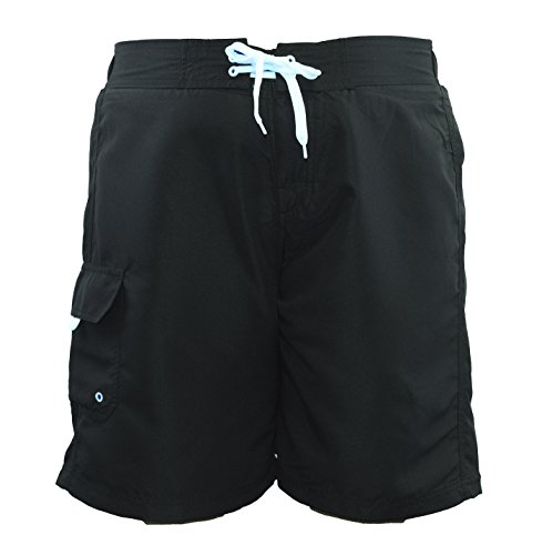 Adoretex Women's Plus Size Solid Board Shorts Swimsuit - FB007P - Black - 5X