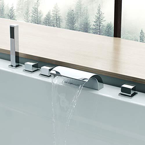 CECIPA Badewannenarmatur Wasserfall Wannenbatterie 5 Loch Set Badewanne Wannenrandarmatur Wasserhahn Ausziehbar Handbrause Einziehbar Schlauch Moderner Stil Messing