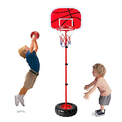 Toddler Basketball Hoop Stand Wall 2-in-1 Basketball Set Kids Portable Height-Adjustable Basketball Goal Toy with Ball Pump Indooll Sets Toy with Ball Pump Indoor and Outdoor Fun Toys 2+ Years Old