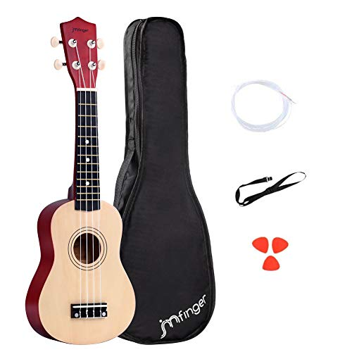 JMFinger Soprano Ukulele Beginner 21 Inch, Professonial Ukele for Kids Bundle with Gig Bag, Extra Strings, Picks, Strap,Natural