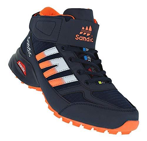 Bootsland Klett Winterstiefel Stiefel Winterschuhe Herrenstiefel Herren 040, Schuhgröße:44, Farbe:Schwarz/Orange