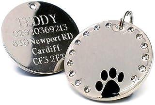 Placa de identificación para perro grande, redonda, con brillantes y con diseño de huella. Personalizable-