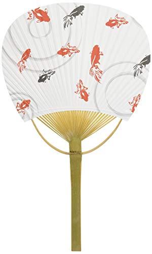 四国団扇 うちわ 白地金魚 平竹 小 約19.5×31.5cm