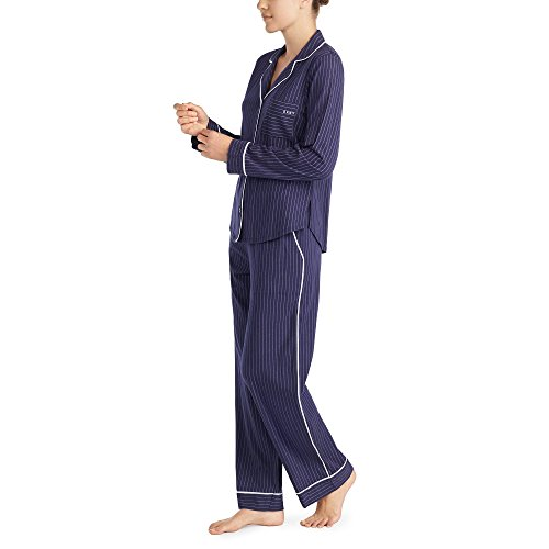 DKNY Signature YI2819259 Pyjama-Set mit Oberteil und Boxershorts, Grau oder Marineblau Gr. 32, marineblau